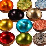 Skålar i kokosnöte, olika färger