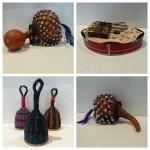 Skrammel- och knäppinstrument från Afrika gjorda av återanvända konservburkar