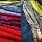 Bild på sjalar - Röda, lila,turkos, grå och gula