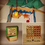 Bild på olika spel: Fiskspel, tre i rad, mm